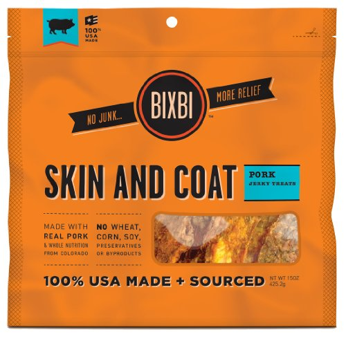 BIXBI Skin and Coat Dog Jerky Treats, 15-Ounce, Pork, My Pet Supplies