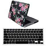 HDE MacBook Pro 13 (Non Retina) Case and Keyboard Cover Snap On Protective Hard Shell Black Floral Design Fits Old Macbook Pro 13 Inch Model A1278 with CD Drive (Black Floral)