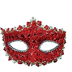 Geek-M Halloween Costume Lace with Rhinestone Venetian Women Masquerade Mask, Red