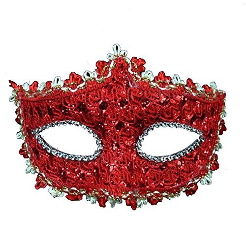 Geek-M 714819364573 Halloween Costume Lace with Rhinestone Venetian - Red Masks For Masquerade Ball