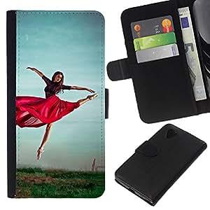 All Phone Most Case / Oferta Especial Cáscara Funda de cuero Monedero Cubierta de proteccion Caso / Wallet Case for LG Nexus 5 D820 D821 // Dancing Red Skirt Girl Exercise Nature Sky