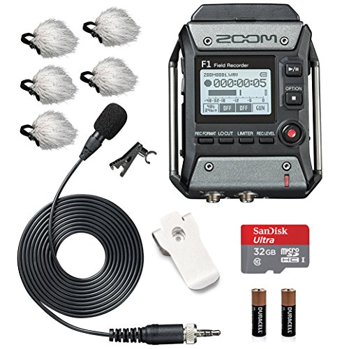 - Zoom F1-LP Field Recorder & Lavalier Microphone Bundle with Deadcat Windscreens (5PK) & 32GB Micro SDHC Card