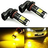 JDM ASTAR 2400 Lumens Extremely Bright PX Chips 9040 9140 9145 9050 9155 H10 LED Fog Light Bulbs for DRL or Fog Lights, Gold Yellow