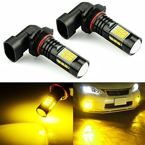 JDM ASTAR 2400 Lumens Extremely Bright PX Chips 9006 LED Fog Light Bulbs for DRL or Fog Lights, Golden Yellow