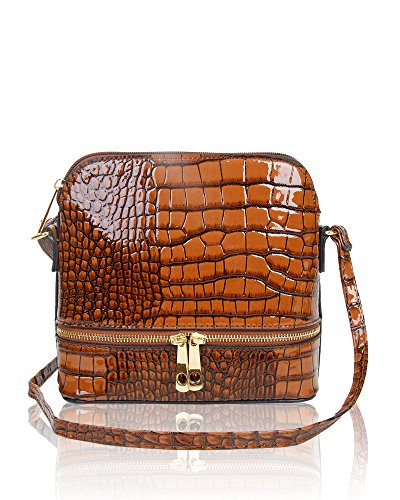 23x21x10 Women's New CM Handbag Messenger Brown Bag Leather Patent Croc Crossbody Snmall Shoulder Print Ladies Shiny OwqwdgB