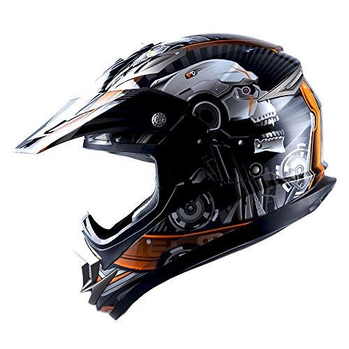 Orange Helmet Motocross (Adult Motocross Helmet Off Road MX BMX ATV Dirt Bike Mechanic Skull Orange)
