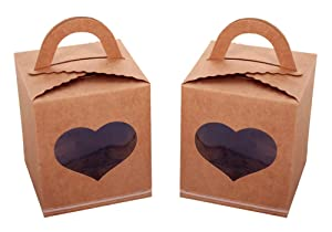 Otterra 50pcs Individual Cupcake Container Cupcake Box with Heart Shape Window and Insert for Wedding Favors,Birthday Party,Baby Shower,Cupcake Business,and Valentines Cupcake Box(Kraft Brown)