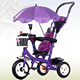 Strollers Baby Baby Stroller 8 Months -5 Years Old Children's Tricycle with Sunshade Detachable Push Handle Children Pedal Trike Bike Bicycle (Color : Purple)