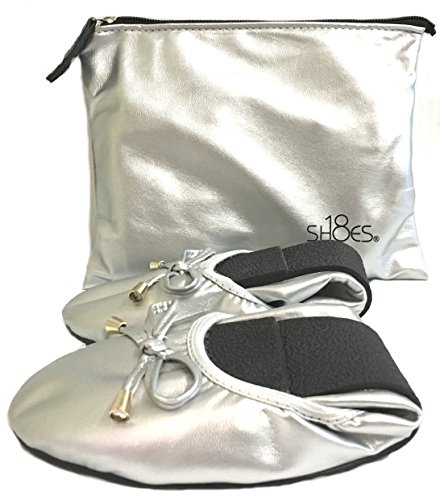 Portable Carrying Matching w Women's Foldable Ballet Shoes 18 1180 Case Flat a Travel Shoes Silver qtvg8z