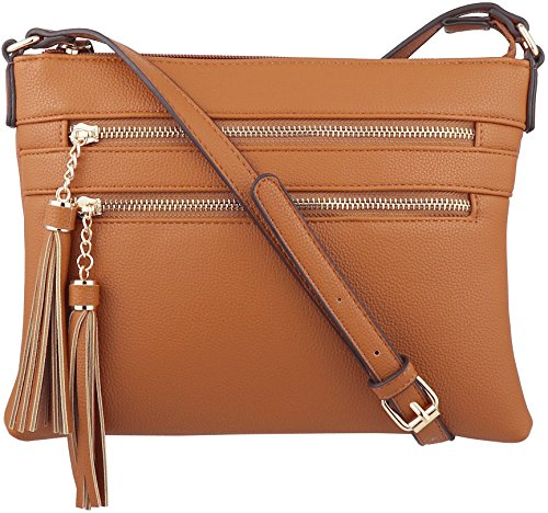 B BRENTANO Vegan Multi-Zipper Crossbody Handbag Purse with Tassel Accents (Tan)