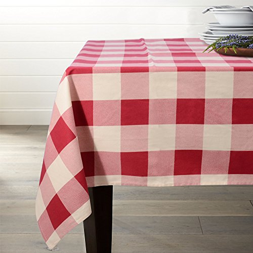 Lamberia Tablecloth Heavyweight Vintage Burlap Cotton Tablecloths for Rectangle Tables, 52-Inch-by-70, Red and White Checkered, Seats 4 to 6 People -