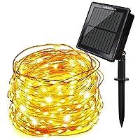Tobbiheim Solar Lichterkette Super Lange Arbeitszeit mit USB Ladung Doppelladung 200 LED 22 Meter Kupferdraht 8 Modi Beleuchtung Wasserdicht IP65 für Garten, Terrase, Balkon - Warmweiß [Energieklasse A+++]