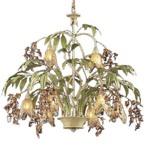 - ELK Lighting 86054 Huarco 8-Light Chandelier in Seashell and Amber Glass