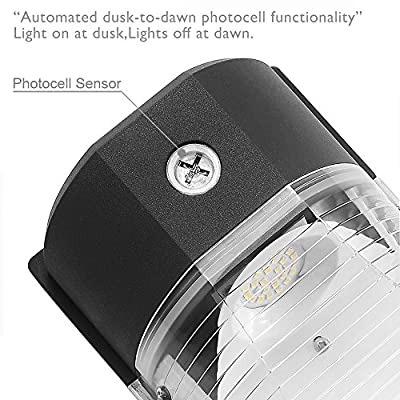 CINOTON LED Wall Pack Light, 26W 3000lm 5000K (Dusk-to-Dawn Photocell,Waterproof IP65), 100-277Vac,150-250W MH/HPS Replacement, ETL DLC Listed 5-Year Warranty Outdoor Security Lighting (1pack)