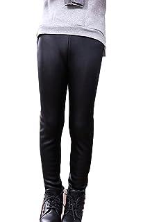 43b7d0afcd Guiran Niña En Mallas Leggings PU Cuero Artificial Elástico Pantalones Plus  Espesamiento Leggins