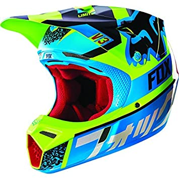 Fox Racing 2016 V3 Helmet - Divizion (MEDIUM) (BLUE/YELLOW) by