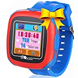 Kids Smart Watches with Games, 1.5'' Touch Children Tracker Pedometer Step Count Wristwatch Digital Timer Alarm Stop Sports Clock Health Monitor Outdoor Birthday Gifts for Boy Girl (Blue)