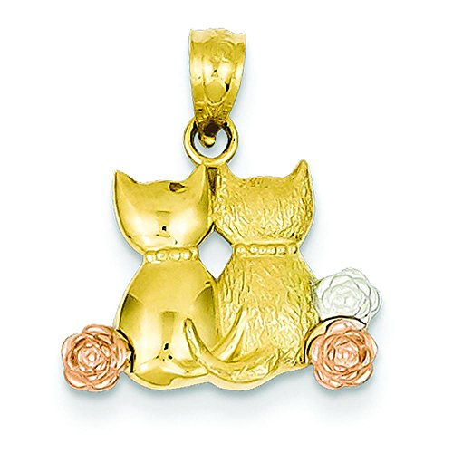 14K Tri-Color Gold Cats Pendant Charm Jewelry