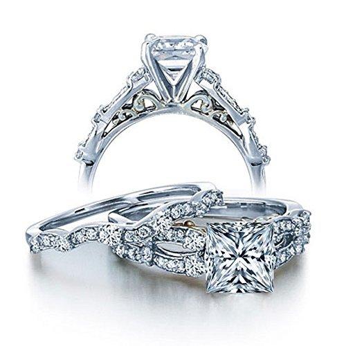 1 Carat Vintage princesa diamante juego de anillos de boda para ella en oro blanco
