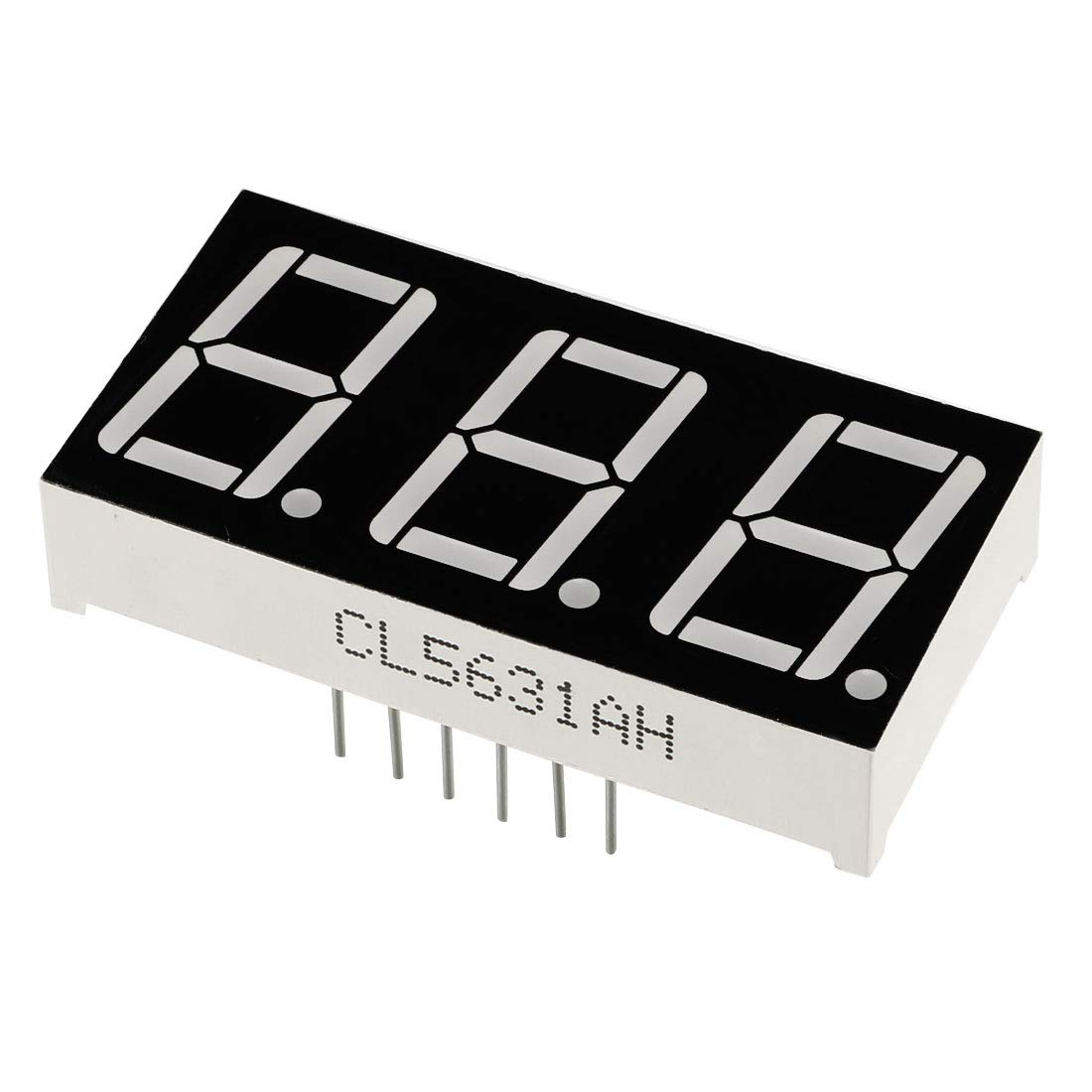 "Common Cathode 12 Pin 3 Bit 1.48 x 0.75 x 0.31 Inch 0.55/"" Red LED Display 3pcs"