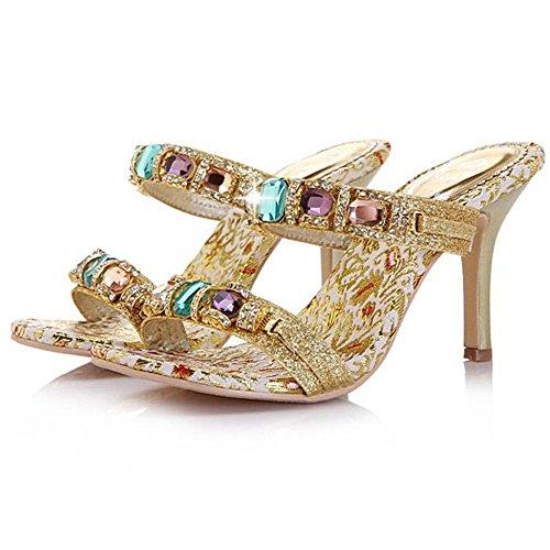 GetmorebeautyUpdate - Zapatos con tacón mujer dorado