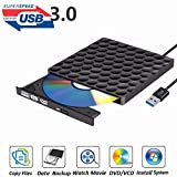 External DVD Drive USB 3.0 Burner,Optical CD DVD RW Row Reader Writer Player Portable for PC Mac OS Windows 10 7 8 XP Vista (Black)