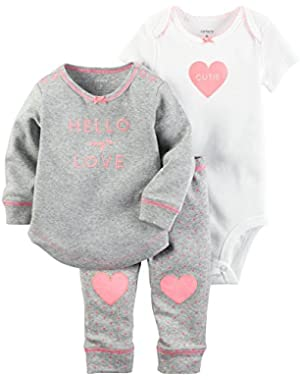 Baby Girls' Hello Love 3 Piece 3 Piece Set