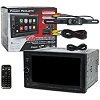 Power Acoustik Car audio Double Din 2DIN 6.5 Digital Media with Apple CarPlay Bluetooth and Remote + DCO Waterproof Backup Camera with Nightvision