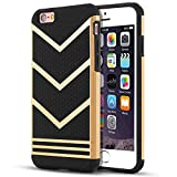 iPhone 6S Case, iPhone 6 Case, LOEV Non-slip [Slim Fit] [2 in 1] iPhone 6 6s Protective Case, [Stylish Design] Anti-scratch Rubber Bumper Hybird Case Cover for iPhone 6/6s 4.7 inch - Gold Chevron