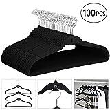 Yaheetech 100 Pack Cascading Non Slip Velvet Hangers Suit Clothes Hangers Black