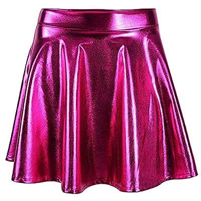 MCCKLE Women's Glossy Liquid Shiny Metallic Mini Skirt Retro Disco Pleated Flared Skater Skirts