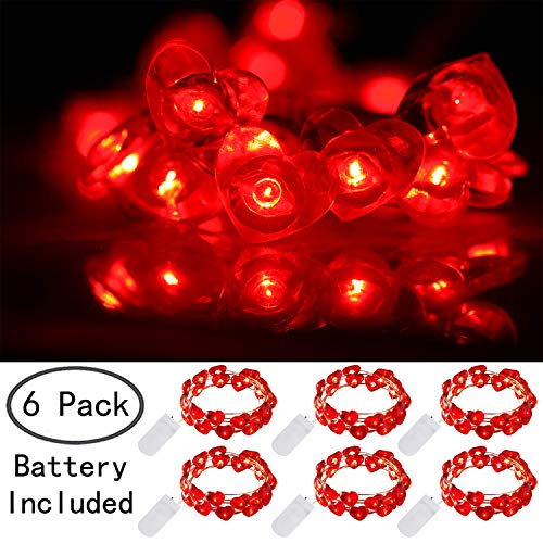 Ehome Heart Shaped String Lights, 6 Pack Valentines Day Decorations Lights, 7.2 ft 20 LEDs Fairy Lights Battery Operated, Waterproof Silver Copper Wire Lights for Christmas, Wedding, Party - Red