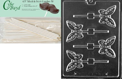 Cybrtrayd 45St50-A134 Butterfly Lolly Animal Chocolate Candy Mold with 50 4.5-Inch Lollipop Sticks