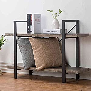 HSH Furniture 2-Shelf Bookcase, Industrial Wood Display and Storage Bookshelf, Dark Oak