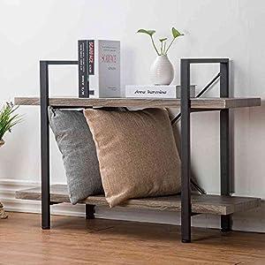HSH Furniture Bookcase, Vintage Industrial Wood and Metal Storage and Display Bookshelf, Dark Oak