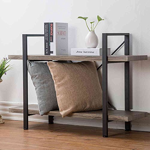 HSH Furniture 2-Shelf Bookcase, Industrial Wood Display and Storage Bookshelf, Dark Oak - Display Case 2 Tier