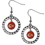 Siskiyou NFL Kansas City Chiefs Rhinestone Hoop Earrings