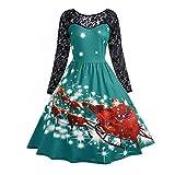 iHENGH Women's Vintage Lace Long Sleeve Print Christmas Party Swing Dress(B-Green,L)
