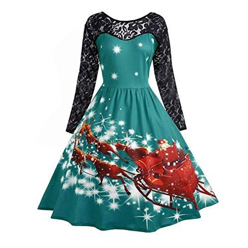 iYBUIA Christmas Dress, Women's Fashion Lace Patchwork Long