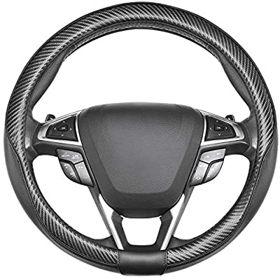SEG Direct Car Steering Wheel Cover Universal Standard-Size 14 1/2''-15'' Leather with Carbon Fiber Pattern Black: Automotive