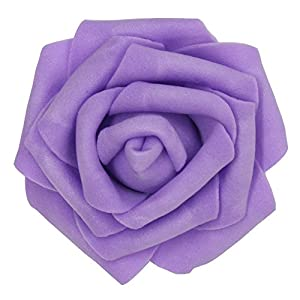 7cm DIY Real Touch 3D Artificial Floral Foam Roses Head Without Stem for Wedding Party Home Decoration-50pcs (Purple) 95