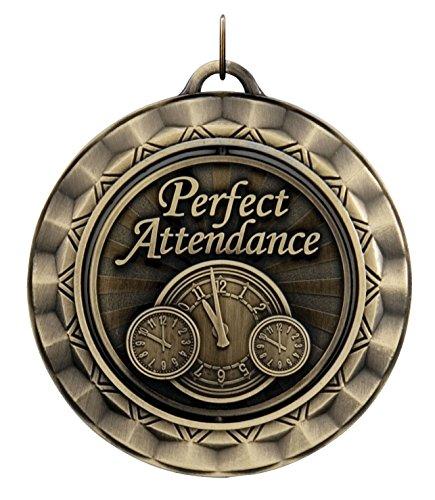 Hammond & Stephens Perfect Attendance Die Struck Spinner Medal, 2-5/16 in, Metal, Gold