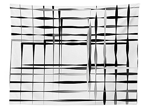 Nascar Spare Cover (vipsung Modern Art Home Decor Tablecloth Minimalist Image with Simplistic Spaces and Spare Asymmetric Grids Dining Room Kitchen Rectangular Table Cover Black White)