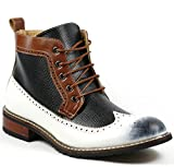 Ferro Aldo MFA-806278 White Black Brown Navy Perforated Mens Lace up Dress Ankle Boot w/ Leather Lining and Full Side Zipper (10.5)