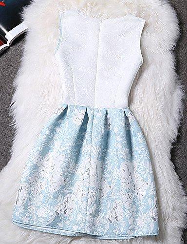 PU&PU Robe Aux femmes Gaine Vintage,Fleur Col Arrondi Au dessus du genou Polyester , black-s , black-s