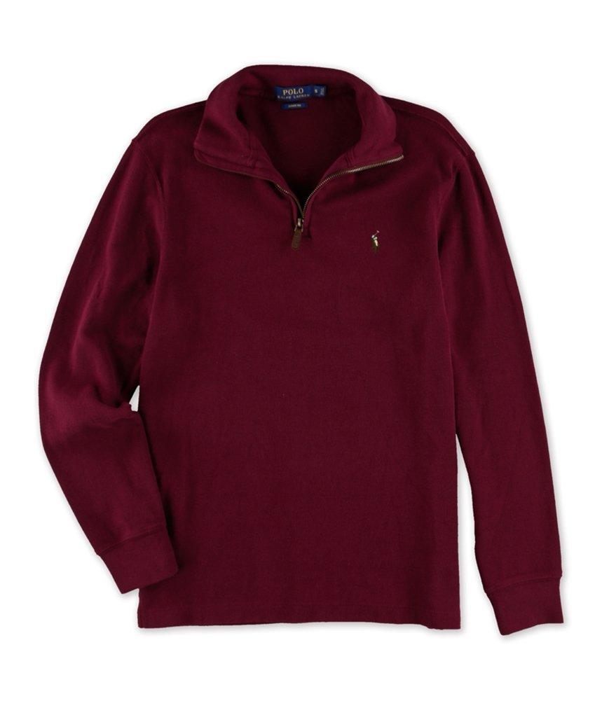 Polo Ralph Lauren Men's Estate Rib Half Zip Sweater, L, Monarch Red