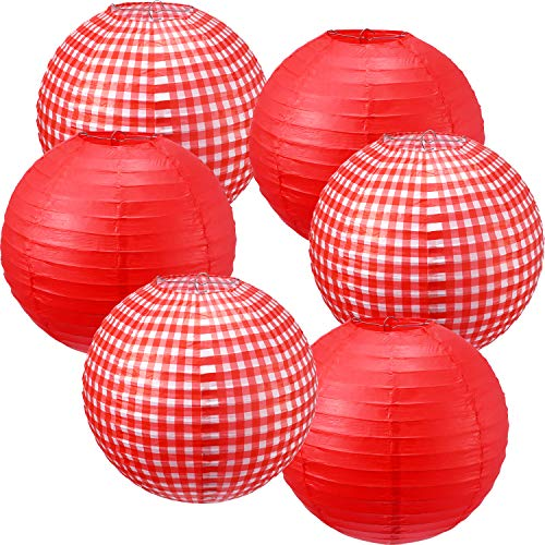 Blulu 6 Pieces Picnic Party Decorations Paper Lanterns Round Hanging Lanterns Picnic Party Lanterns for Summer Barbecue Birthdays Holidays Picnic Party Supplies(White and Red Plaid, Pure Red) -