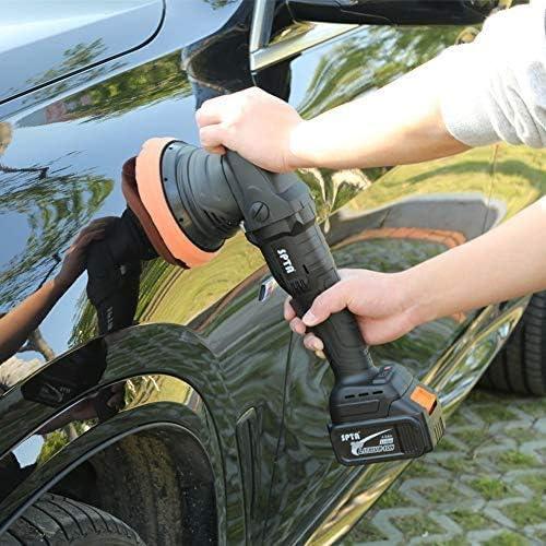 Exzenter Poliermaschine mit 125mm Polierschwamm Polierteller SPTA 20V Polierer Akku-Polier- // Akku-Exzenterpolierer mit Variable Geschwindigkeit polieren Pad//Wollscheibe 2tlg 4000 mAh Batterie