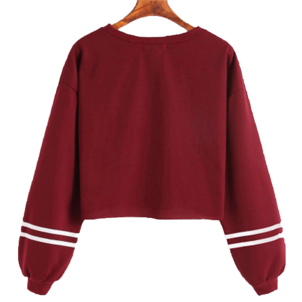 WensLTD Womens Long Sleeve Christmas Reindeer Printed Sweatshirt Crop Tops Blouse