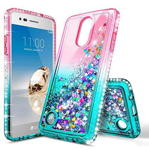 LG K20 Plus Case, LG K20 V (Verizon Wireless), K20 /K10 2017 (M250)/Harmony/Grace LTE Case, NageBee Glitter Liquid Bling Waterfall Floating Sparkle Women Girls Kids Cute Case -Pink/Aqua